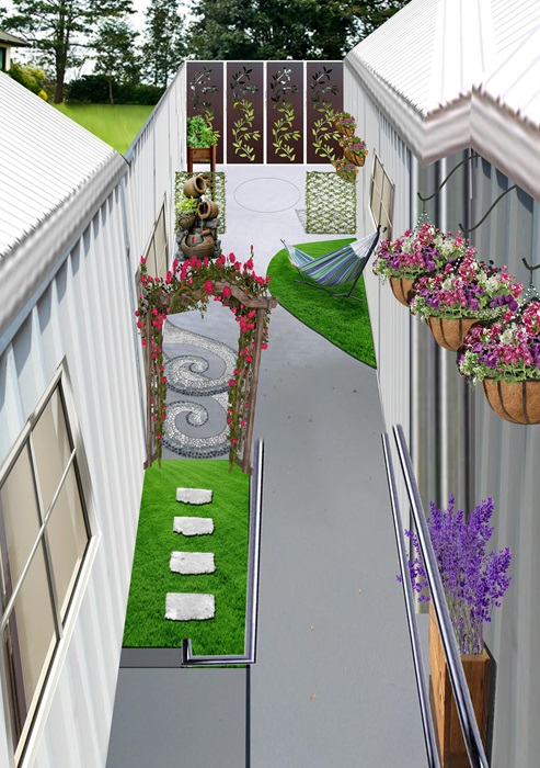 Artist impression of the finished sensory garden with hanging baskets and a water feature.